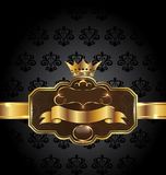 Vintage golden emblem on black floral background. Illustration vintage golden emblem on black floral background - vector Royalty Free Stock Image
