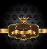 Vintage Golden Emblem On Black Floral Background Royalty Free Stock Image