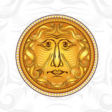 Vintage golden  face or god sun Stock Photo