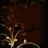 Vintage golden floral swirls on dark background. Vintage golden floral swirls on dark brown background vector illustration