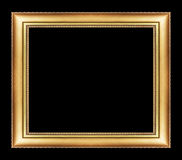 Vintage golden frame with blank space, with clipping path, on bl Royalty Free Stock Images