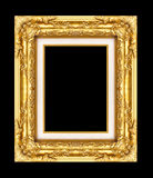 Vintage golden frame with blank space, with clipping path Stock Photography