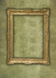 Vintage golden frame in faded grunge wallpaper Royalty Free Stock Photography