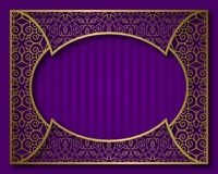 Free Vintage Golden Frame In Oriental Style. Certificate, Nameplate Or Greeting Card Background Template Royalty Free Stock Photography - 122022487