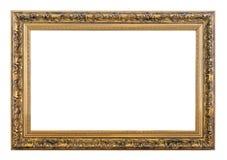 Vintage golden frame. Vintage rectangle golden frame on a white background, isolated royalty free stock photo