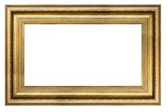 Vintage golden frame on a white background. Vintage rectangle golden frame on a white background, isolated Royalty Free Stock Image