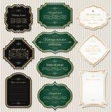 Vintage golden frames and labels set. Luxury design Royalty Free Stock Photos