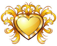Vintage golden heart Stock Images