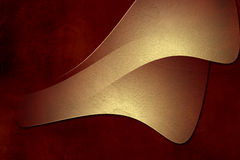 Gold plate on red grunge paper background Stock Images