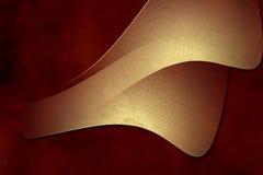 Gold plate on red grunge paper background. Vintage golden metal plates on grunge dark red background Stock Images