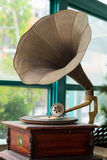Vintage golden phonograph. Music concept Stock Photography