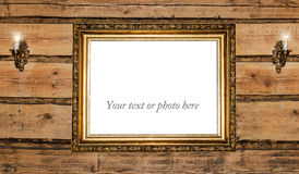 Vintage golden picture frame stock photography
