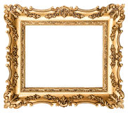 Vintage golden picture frame. Antique style object. Vintage golden picture frame isolated on white background. Antique style object Stock Photography