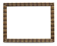 Vintage golden picture frame with clipping path. Wooden frame isolated on white background Royalty Free Stock Photo