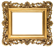 Vintage golden picture frame isolated on white Royalty Free Stock Photography
