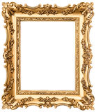 Vintage golden picture frame isolated on white royalty free stock photo