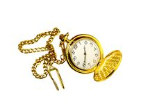 Ancient, pocket watch with chain stock image