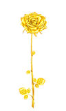 Vintage golden rose with stem and leaves on a white background.V Royalty Free Stock Image