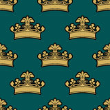Vintage golden royal crowns seamless pattern Royalty Free Stock Image