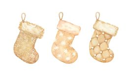 Vintage golden set of knitted and woolen christmas stockings wit stock illustration
