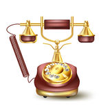 Vintage golden telephone Stock Photo