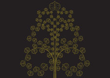Vintage golden tree on black background vector illustration