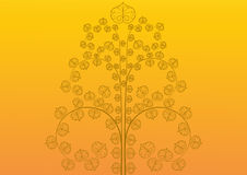 Vintage golden tree on golden background royalty free illustration