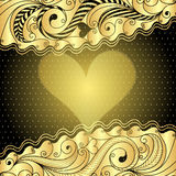 Valentine gold frame Stock Images