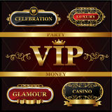 Vintage golden VIP and luxury banner  sign Stock Photos