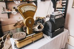 Vintage golden weighing scales stock photo