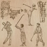 Vintage Golf and Golfers - Hand drawn vectors, freehands Stock Image