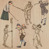 Vintage Golf and Golfers - Hand drawn vectors, freehands Royalty Free Stock Image