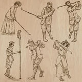 Vintage Golf and Golfers - Hand drawn vectors, freehands Royalty Free Stock Photos
