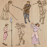 Vintage Golf and Golfers - Hand drawn vectors, freehands Royalty Free Stock Images