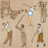 Vintage Golf and Golfers - Hand drawn vectors, freehands Stock Photography