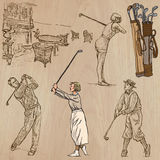 Vintage Golf and Golfers - Hand drawn vectors, freehands Stock Images