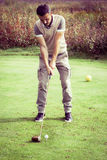 Vintage Golf player stance Royalty Free Stock Image