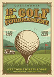 Vintage golf poster. With a golf ball, golf car and flag on the golf lawn with text. Tournament theme Stock Photos