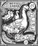 Vintage Goose Advertising Blackboard Stock Photography