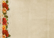 Vintage gorgeous background with floral border and lace. Greetin Royalty Free Stock Photo