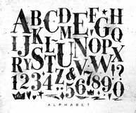 Vintage gothic alphabet. Vintage gothic font in retro style drawing on dirty paper background vector illustration