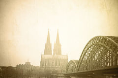 Vintage Gothic Cathedral in Cologne Stock Photos