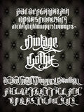 Vintage Gothic Font. Vintage gothic - modern font on old fashion leather background. Gothic letters with alternate decoration elements. Vector alphabet Royalty Free Stock Images