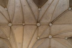Vintage Gothic pattern texture of interior ceilings. Of a medieval castle stock image