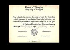 Vintage Grade School  Diploma  Royalty Free Stock Image