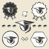 Vintage graduation cap symbol emblem label Stock Images