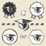 Vintage graduation cap symbol emblem label Stock Images