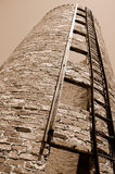 Vintage Grain Silo From Below. Vintage Grain Silo From the Bottom of the Structure Stock Photo
