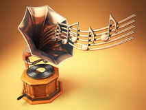Vintage  gramophone with gold musical notes. Retro background. 3d illustration Royalty Free Stock Photo