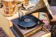 Vintage gramophone with horn speaker royalty free stock photos